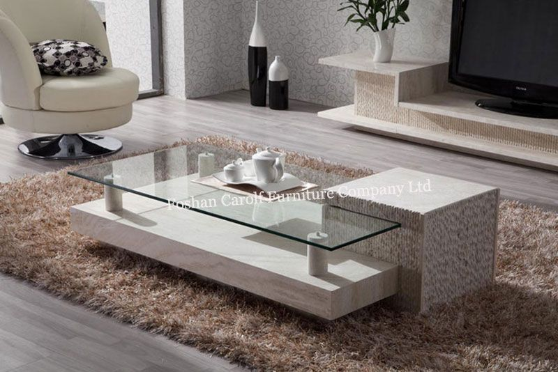 Fancy Special design white marble travertine base tea table