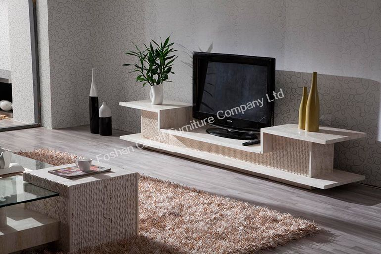 Fench style Hand Made Natural Travertine TV stand