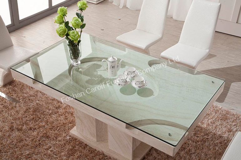 Modern Dining Room Furniture Glass Top Marble Base Dining Table