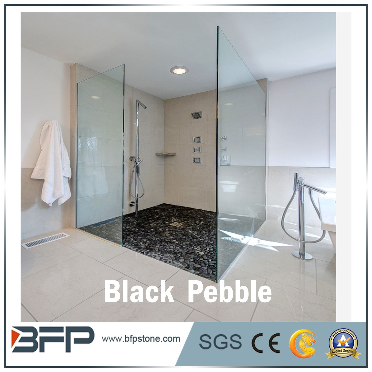 Black And White Pebble Stone Pebbles Wash Floor Tile