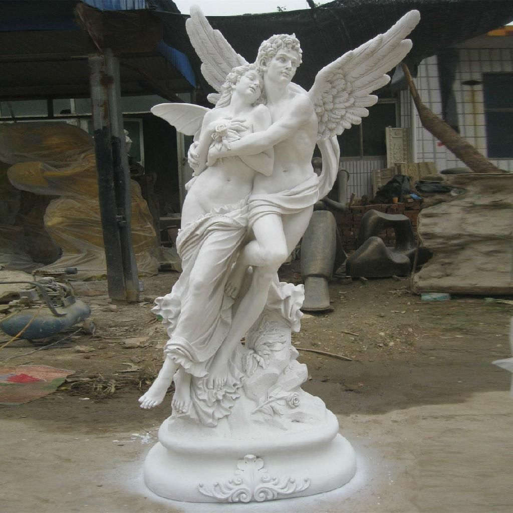 White Marble Angel Statues Outdoor Granite Hand Carved