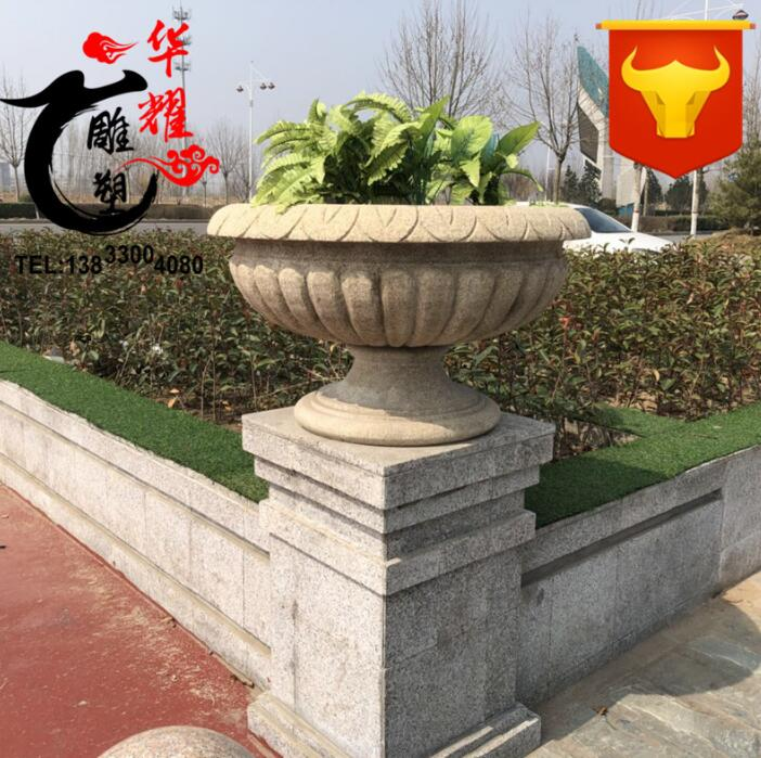 Yellow Granite Stone Planters Flower Pot Large Outdoor Vase Boxes