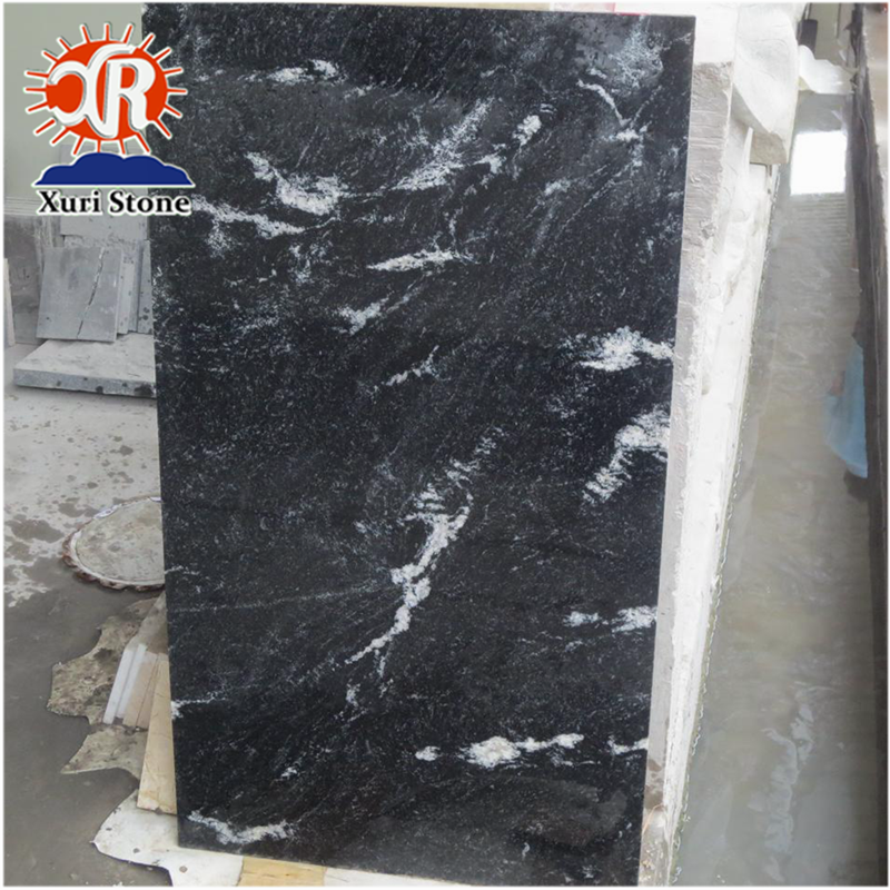 Flamed Surface China Cheap Black With White Vein Granite Floor Tile