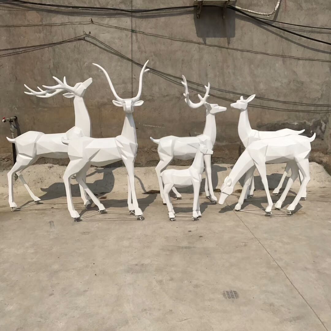 White Deer Abstract Statues Animal Sculptures Outdoor