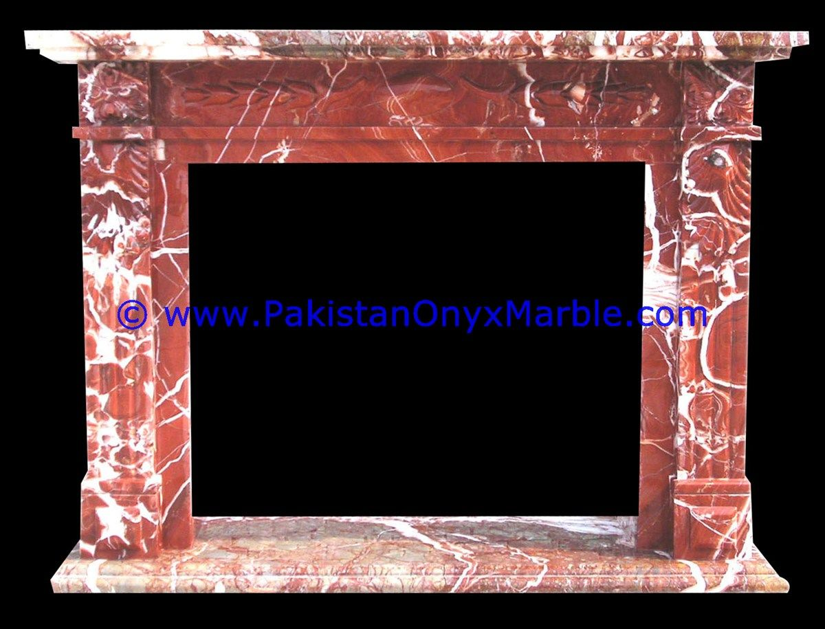 Natural Color Marble Fireplaces Red From Pakistan Stonecontact Com