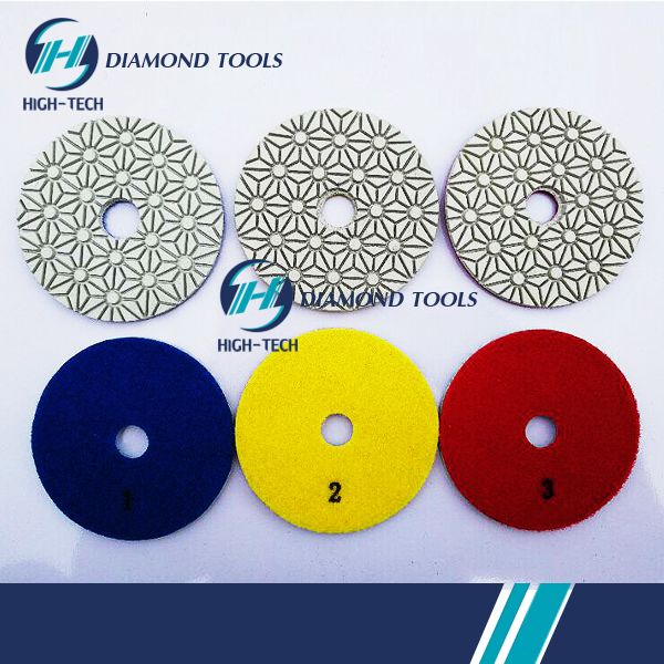 4inch HIGH-TECH White 3 Steps Diamond Dry Polishing Pad.jpg